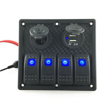 12V/24V Switch Panel Breaker 4 Gang Blue LED Car Marine Boat Rocker Waterproof