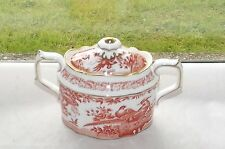 Royal Crown Derby Red Aves Lidded Sugar  Bowl Birds and Flowers 1st Quality