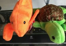 2 Ty Beanie Babies Goldie the Goldfish & Speedy the Turtle Baby Plush Animals