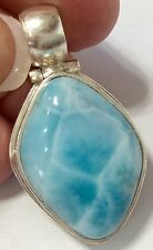 Amazing handcrafted natural AAA Larimar Pendant 925 silver J4