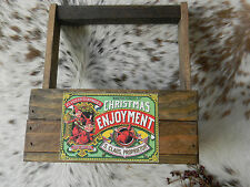 Primitive Lathe Wood Crate Box With Handle Vintage Look Label CHRISTMAS