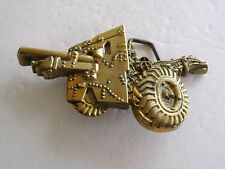 BELT BUCKLE HOWITZER CANNON WWII MILITARY SOLID BRASS GOLD TONE BARRON BUCKLE CO