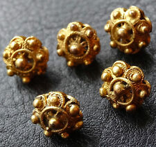 antique Victorian set of 5 gilt gold flower bead button charms -C655