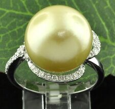 0.55 ct GOLDEN YELLOW SOUTH SEA PEARL &  DIAMOND RING 18K WHITE GOLD 13.5 mm