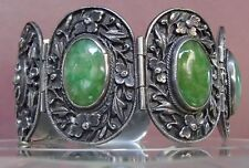 Antique Chinese China Silver Carved Bracelet Jade Cabochons Flowers Bats 49.8 g