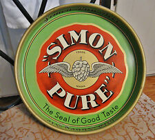 "1930'S SIMON PURE BEER - OLD ABBEY ALE 13"" METAL TIN LITHO TRAY BUFFALO NY"