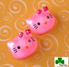 "US SELLER - 10 pcs x 5/8"" Resin Kitty Flatbacks w/Strawberry Bow/Hello SB138P"