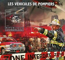 Central African Republic 2015 MNH Fire Engines 1v S/S Trucks Helicopters Bell