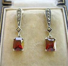 Deco Inspired Garnet Red CZ & Marcasite Silver Drop Earrings