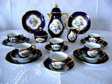VG GERMAN BAVARIA LINDNER KUEPS HP PORCELAIN COBALT BLUE GLT TEA COFFEE SET RARE