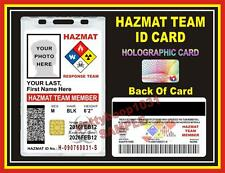 HAZMAT TEAM MEMBER ID Badge / Card  Custom w your Photo & Info - Smart Chip Card