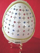 """Decorated Goose Egg   """" SELENA """"  an egg within an egg   perfect bejeweled gift"""