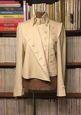 ANN DEMEULEMEESTER jacket blazer 38 UK10-12 US6-8 military asymmetric cream wool