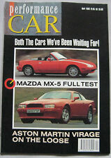 Performance Car 04/1990 featuring Aston Martin, Ford Cosworth, Mazda MX-5, SAAB
