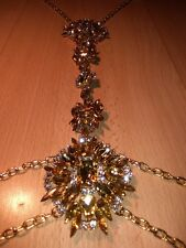Body chain necklace with diamante in gold, costume jewellery,rave,festival,beach