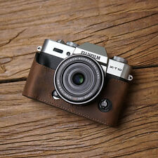 Genuine Real Leather Half Camera Case Bag Cover for FUJIFILM X-T20 X-T10 D Brown