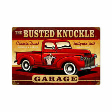 Busted Knuckle Garage Repair Classic Pick Up Truck Retro Sign Blechschild Schild