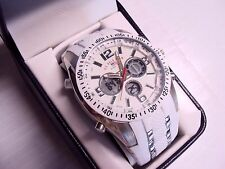 U.S.Polo Assn Sport Men US9282 Silver-Tone Chronograph Watch White Silicone Band