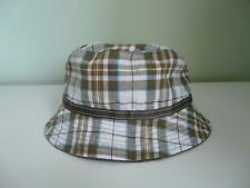 NEW MONSOON ACCESSORIZE LADIES GREEN CHECK BOHO BUCKET SUMMER HOLIDAY SUN HAT