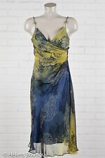 Laundry by Design woman's dress size 4 blue green bead straps silk casual sexy