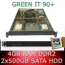 1HE / 1U Rack Server AMD Opteron 64bit Quad Core 2.50GHz 4GB RAM 2x 500GB SATA