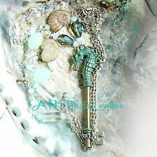 Handmade Antique Seahorse Key Necklace Mermaid Aquamarine Ammonite Jewellery