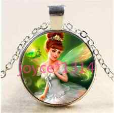 Vintage fairy Cabochon Tibetan silver Glass Chain Pendant Necklace &XP-1362