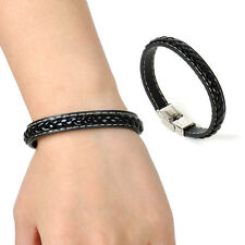 New Stainless Steel Men's Black Leather Braided Clasp Bracelet Bangle Wristband