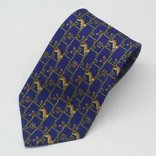 New with tags $95 Olimpo Tie Blue with Leopard pattern 100% Silk Made in Spain