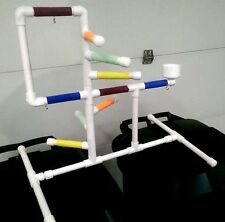 Deluxe Small PVC Parrot Perch  Stand  Play Gym ** Birds Love Them!