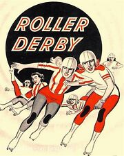 Roller Derby Art Print 8 x 10 - Retro Roller Skating Ad 1950s Skater Derby Girl