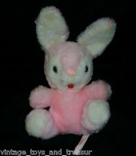 "10"" VINTAGE RUSS BERRIE PINK WHITE PENNY BUNNY RABBIT STUFFED ANIMAL PLUSH TOY"
