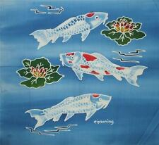 Indonesian Dyed White Koi Fish Asia Pond Lily Pad Batik Fabric Panel