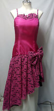 80s Pink/Fuchsia/Black Prom/Cocktail Dress/Lace Taffeta/Straps/Size S/XS **EUC**