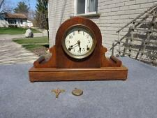 Sessions Art Deco Mahogany Tambour Shelf Mantle Clock Original Dial Runs Good
