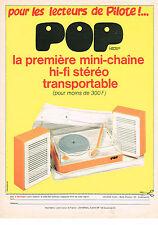 PUBLICITE  1971   LENCO   première mini-chaine POP jeux jouets