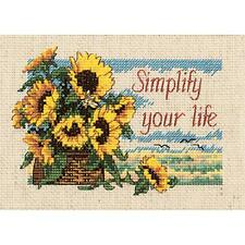 COUNTED CROSS STITCH Dimensions Kit SIMPLIFY YOUR LIFE Sunflower Summer  NEW