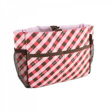 JACKI DESIGN Retro Plaid RED/BROWN/PINK Cosmetic Organizer Bag - NEW!