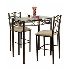 Small Kitchen Table and Chairs Counter Height Bistro Set Pub Dining Room New