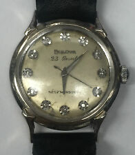 Vintage Bulova 23 Jewel Self-Winding 14K White Gold Diamond Dial Wrist Watch