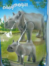 U8) PLAYMOBIL Rinoceronte con bebé Familia Set 6638 City Life Zoo Serie