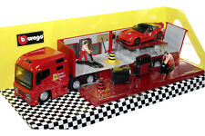 FERRARI PLAY SET RACING HAULER DIE CAST 1/43 BY BBURAGO 18-31202 RED NEW