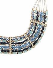 NEW NWT MONSOON ACCESSORIZE BLUE MARLIN BEADED BEADS COLLAR NECKLACE CHAIN