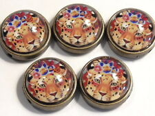 5 - 2 HOLE SLIDER OR SPACER BEADS LEOPARD, FLOWERS GLASS CABOCHONS ANTIQUE BRASS