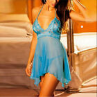 Ladies Lingerie Nightwear Underwear Sleepwear Babydoll+G String Lace Dress blue
