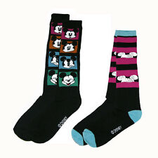 Disney Mickey Mouse Knee High 2-pack Fit Socks 9-11 Shoe 4-10 - BLACK NWT