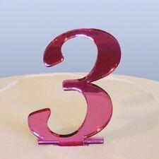 Numero 3 Sceneggiatura Rosa Specchio Acrilico Decorazione Torta Circa 6cm-4cm