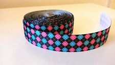 """Yarda 1 22mm (7/8"""") de ancho negro rosa azul cinta del grosgrain Argyll Tartán"""