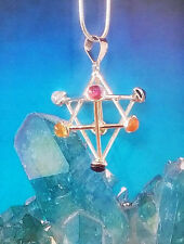 NEW SILVER 3D SACRED GEOMETRY MERKABA PENDANT WITH CHAKRA CRYSTALS AND CHAIN