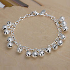 wholesale sterling solid silver fashion charms small bell Bracelet XLSB056